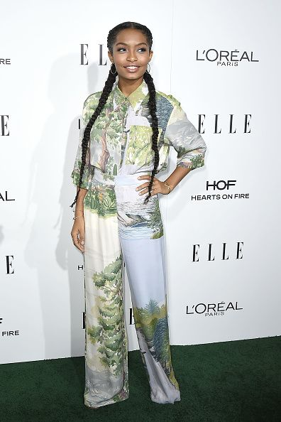 Yara Shahidi With Two Long French Braids At The Elle Women In Hollywood Event