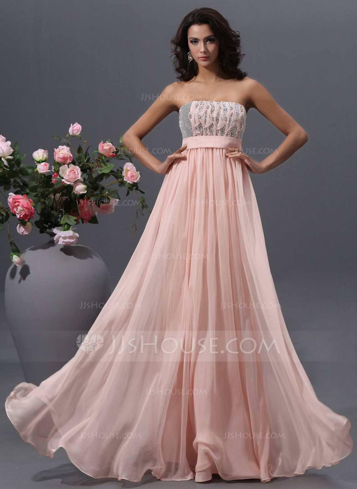 Empire strapless floorlength chiffon prom dress with beading