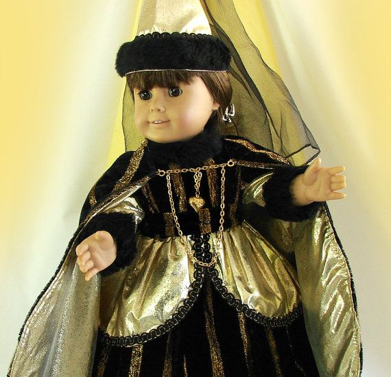Doll Costume for 18 inch Doll Black and Gold Queen von FocusonColor