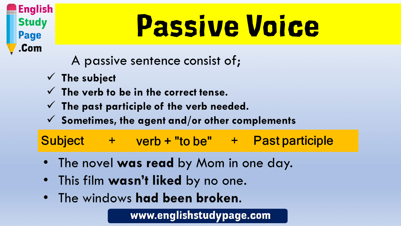 Passive Voice Formula And Example Sentences A Passive Sentence Consist Of The Subject The Verb To Be In The Correct T Subject And Verb Sentences English Study [ 720 x 1280 Pixel ]