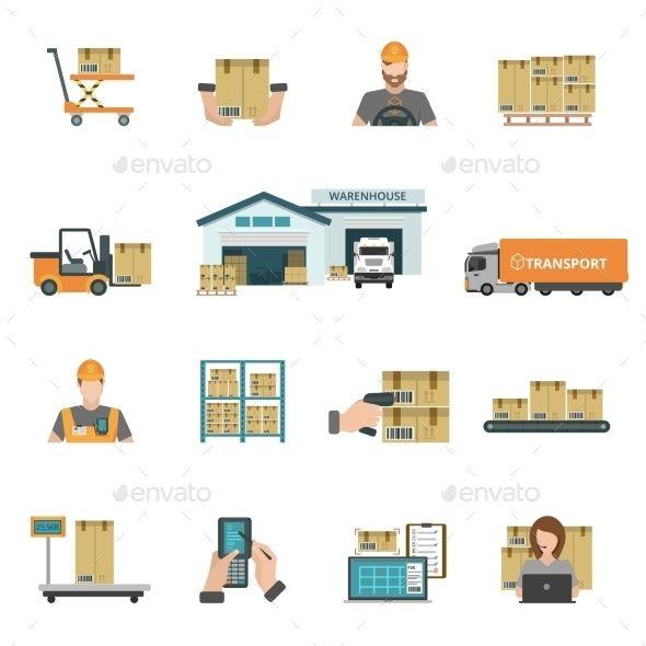 Warehouse Icons Set Icon Set Warehouse Icon Set Vector