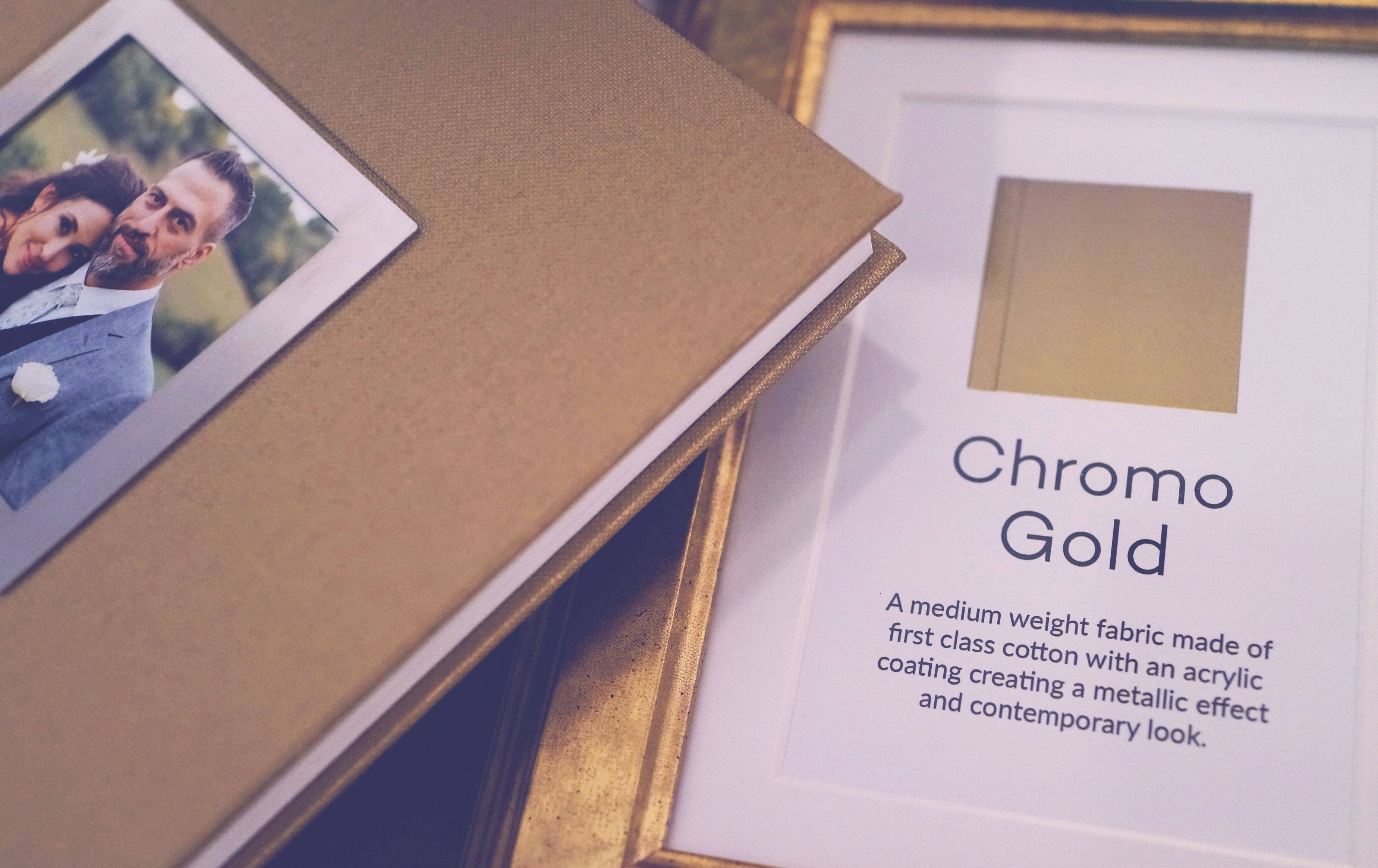 Compliment Your Next Wedding Photo Album With Our Chromo Gold Cover Material Cameo Image By
