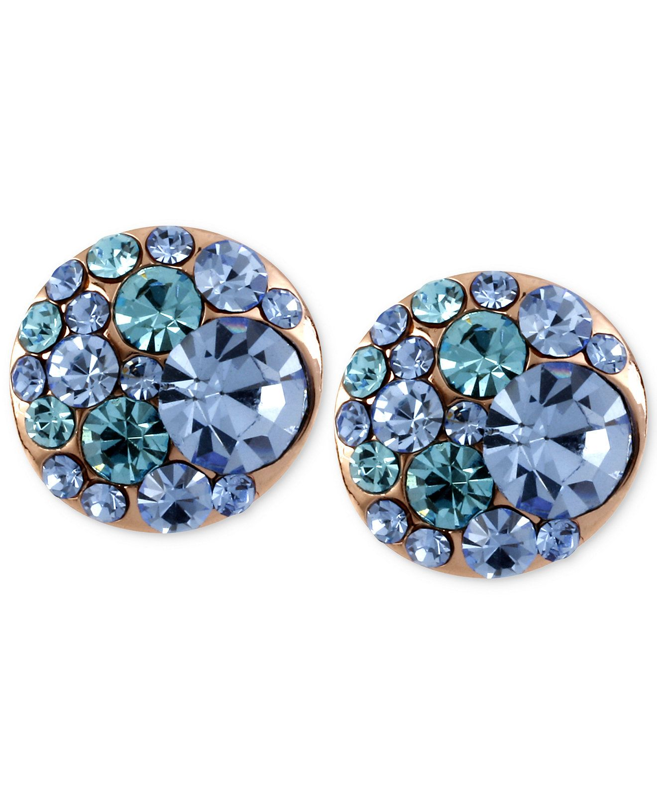 Betsey Johnson Rose GoldTone Blue Crystal Stud Earrings Blue