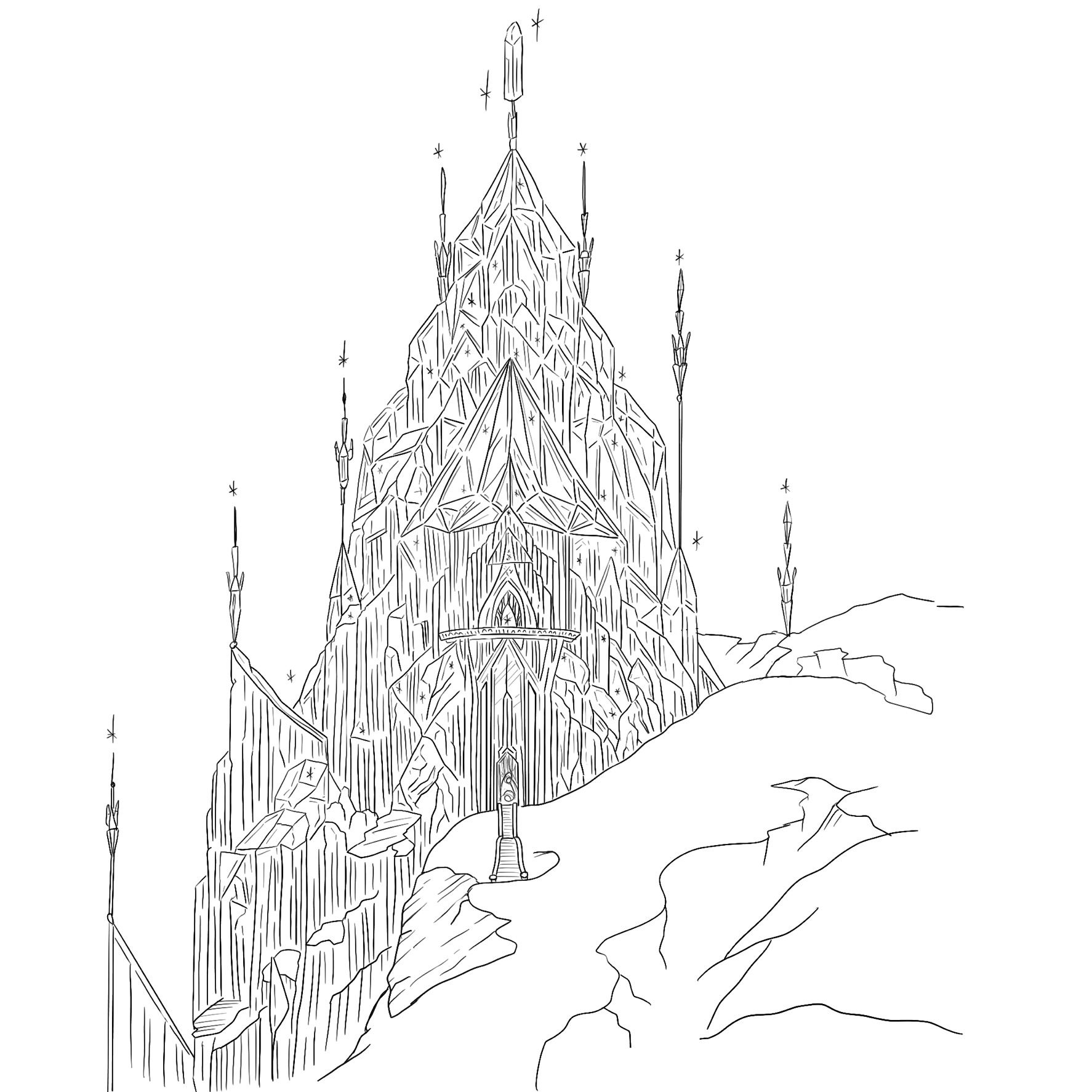 Frozen Elsa S Ice Castle Disney Hand Drawn Illustration Digital File Instant Download Home Decor Colouring Book Elsa And Anna In 2021 Castle Illustration Disney Castle Drawing Drawing Illustration