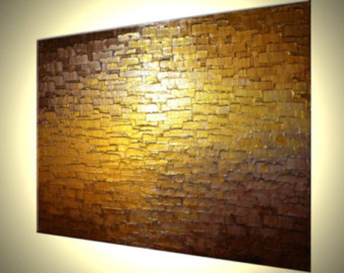 ORIGINAL Abstract Metallic Reflective PAINTING Gold Bronze Impasto ...