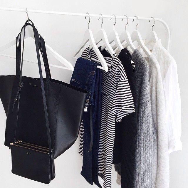 minimal | classic | black & white | hanging storage | leather | clothing