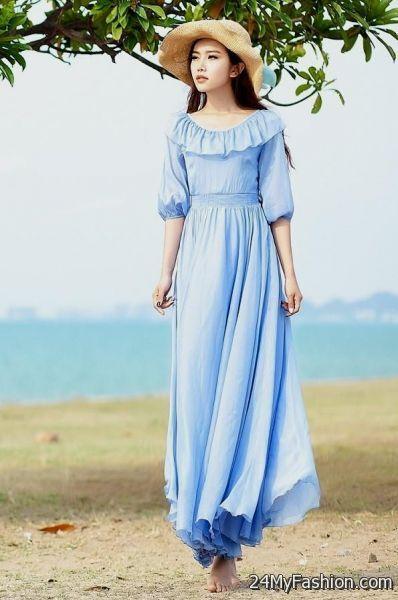 light blue maxi dress with sleeves 2017-2018 » B2B Fashion