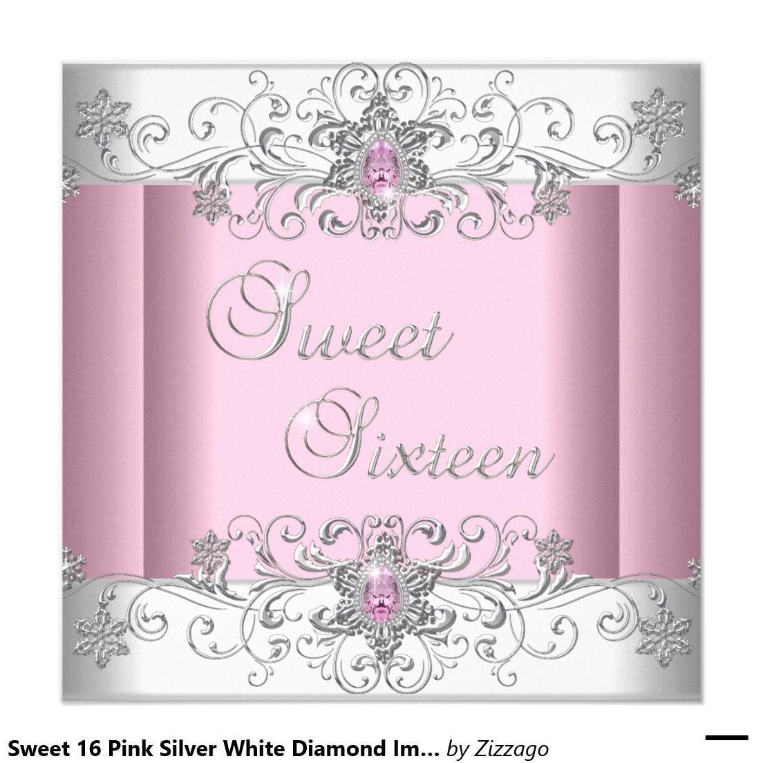 Sweet 16 Pink Silver White Diamond Image Party Invitation | White ...