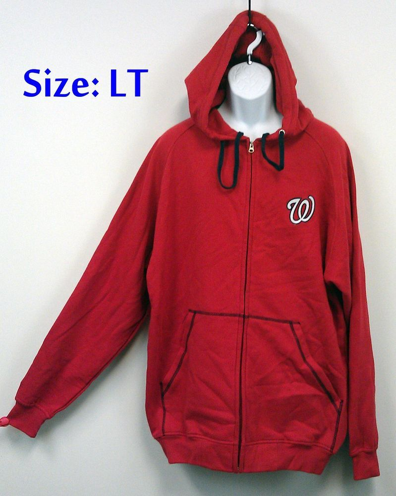official photos 9f2c6 36b4b Details about Washington Nationals Hoodie LT Majestic Sewn ...