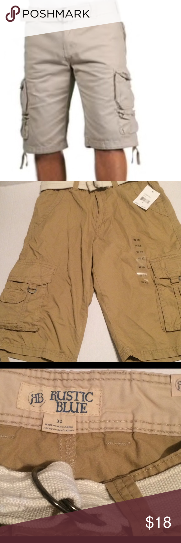 Rustic Blue Khakis Cargo Shorts NWT Size 32 Rustic Blue Khakis Cargo Shorts NWT Size 32. New, unworn, and the original tags attached. 25 inches in length. 100% cotton. 4 front pockets and 2 back pockets. Comes from a smoke and pet free home. Thanks for looking 😊 Rustic Blue Shorts Cargo