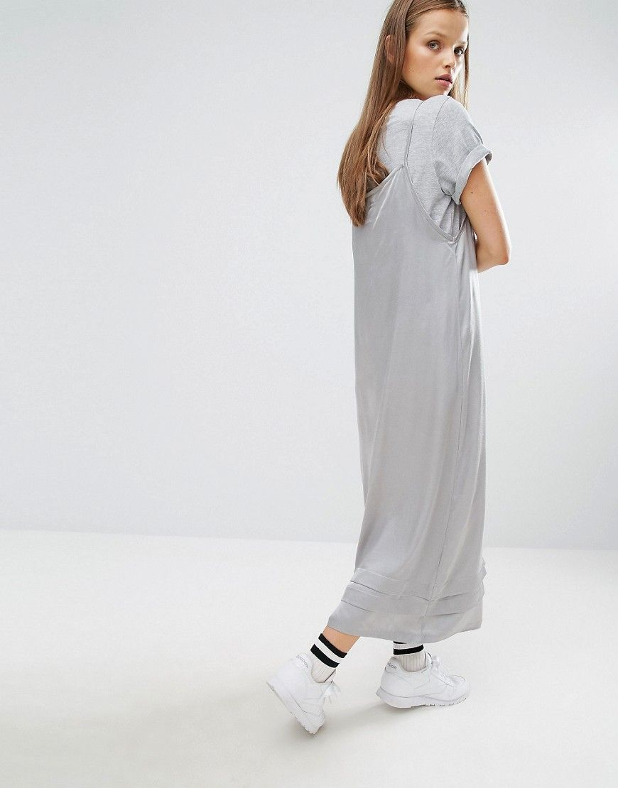 STYLENANDA Silky Midi Cami Dress With Ruffles - Grey Style Nanda 8CCAD