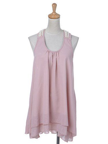 Anna-Kaci S/M Fit Muted Pink Shoulder Back Faux Pearl Detail Blouse Top Shirt