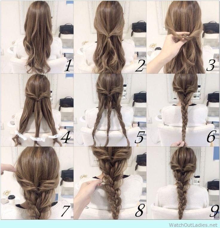Neue Easy Hair Tutorials für mittleres Haar für die Schule - Neue Haare Modelle #promhairupdowithbraid