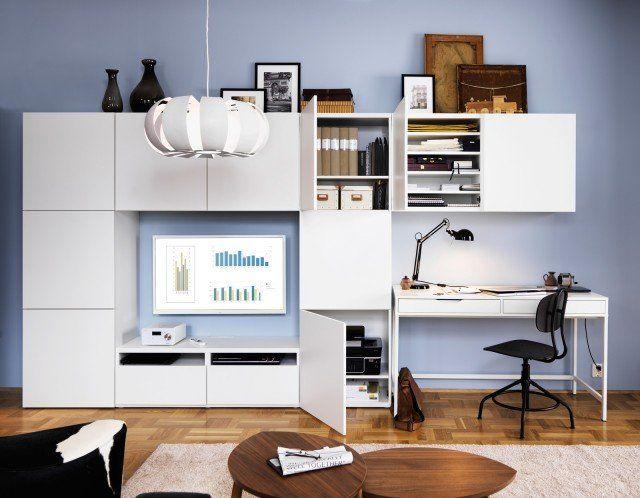Ikea Besta Scrivania.Angolo Studio In Soggiorno Integrato Nella Libreria O In Un