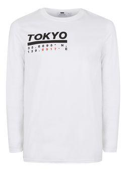 White Tokyo Print Long Sleeve T-Shirt