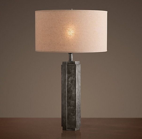 Hexagonal Column Table Lamp Antique Silver Classic Restoration
