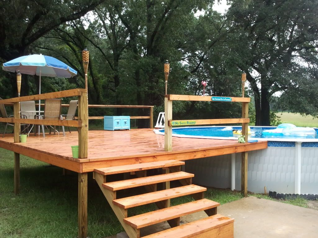 Above ground pool deck kits our agp and deck install for Cheap above ground pool packages