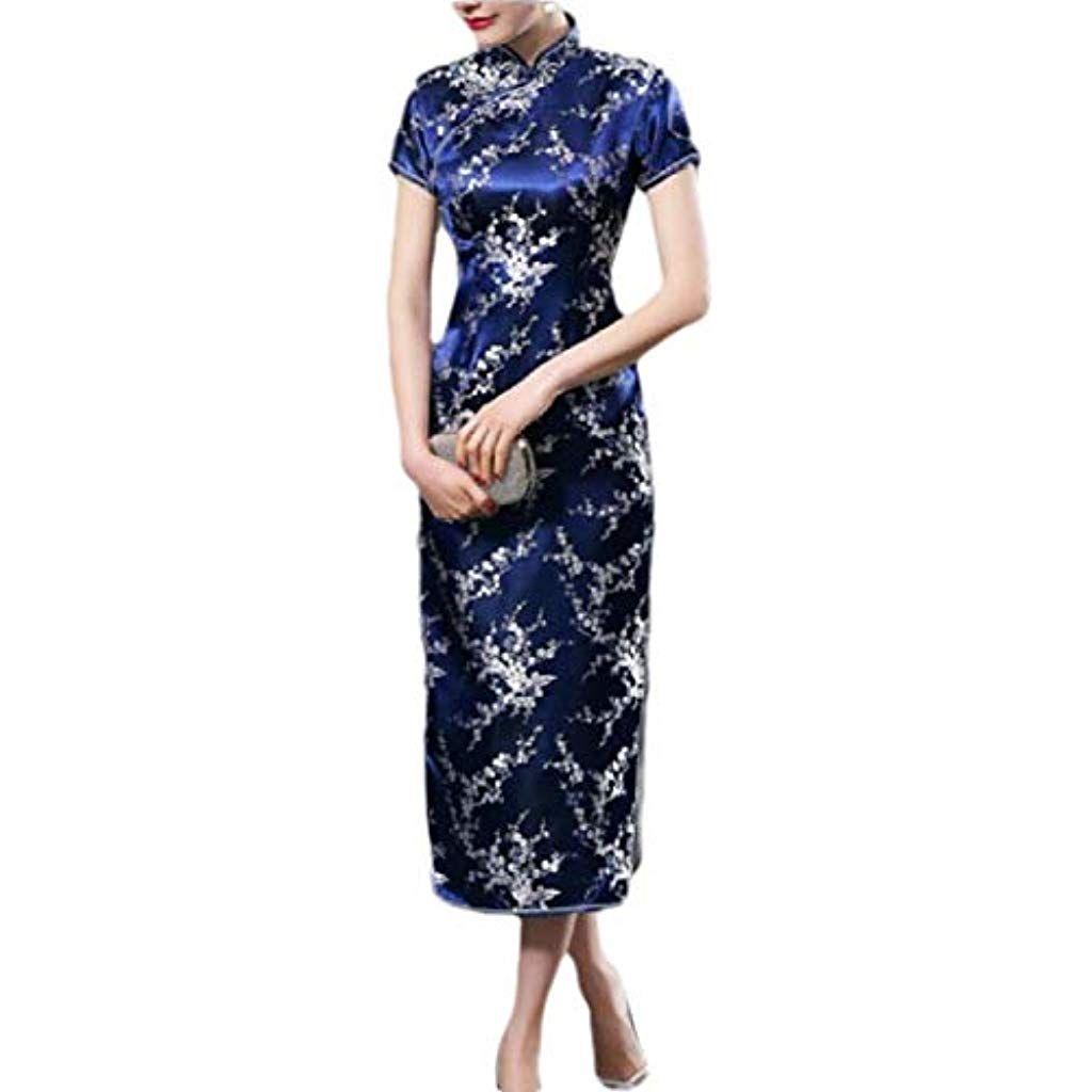 Womens Long Chinese Wedding Dress Cheongsam Retro Long Flower