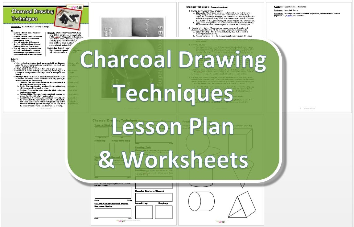 Charcoal Drawing Techniques Lesson Plan Worksheet Charcoal Drawing Drawing Techniques Drawing Lessons