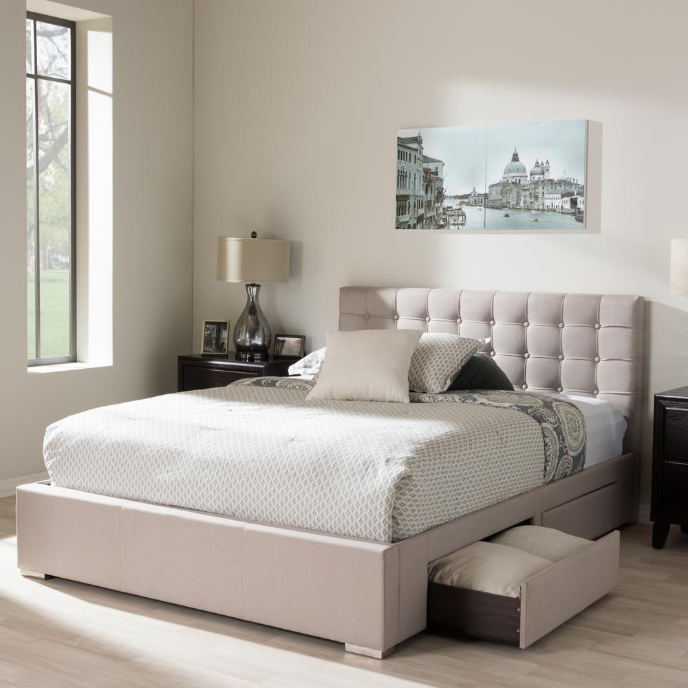 Rene Beige King Upholstered Bed   Decoración