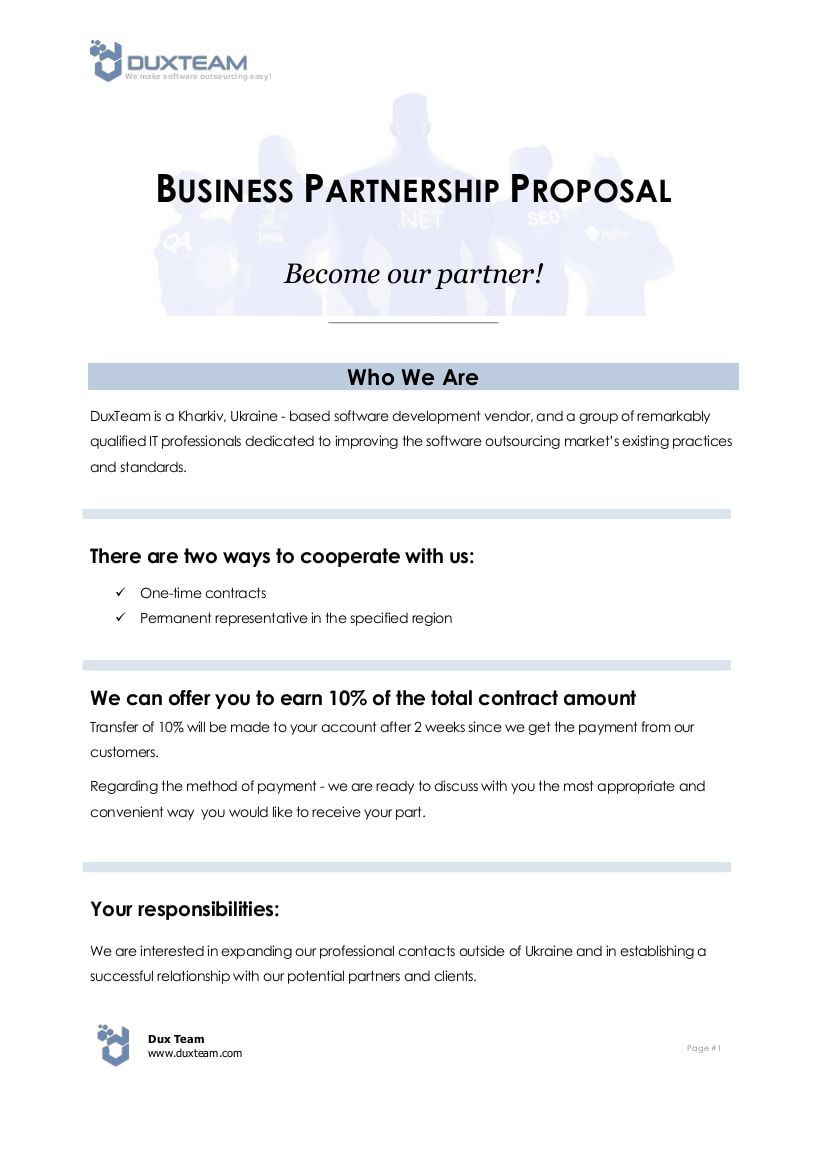 The Interesting 10 Business Partnership Proposal Examples Pdf Word For Business Partner Proposal Templates Free Business Proposal Template Proposal Example