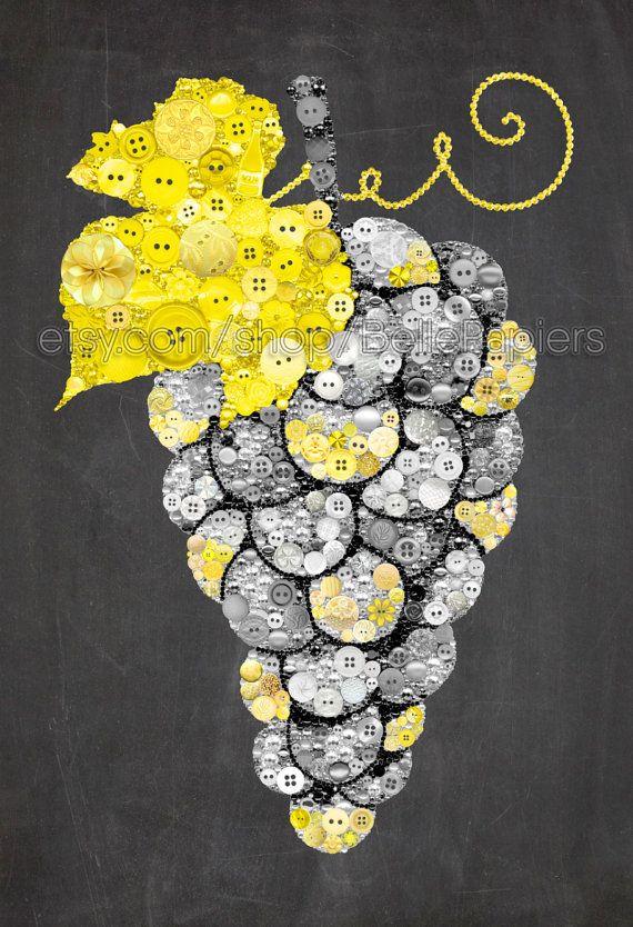Fourth Anniversary Grape Decorations Kitchen Art Fruit | Gift idea ...