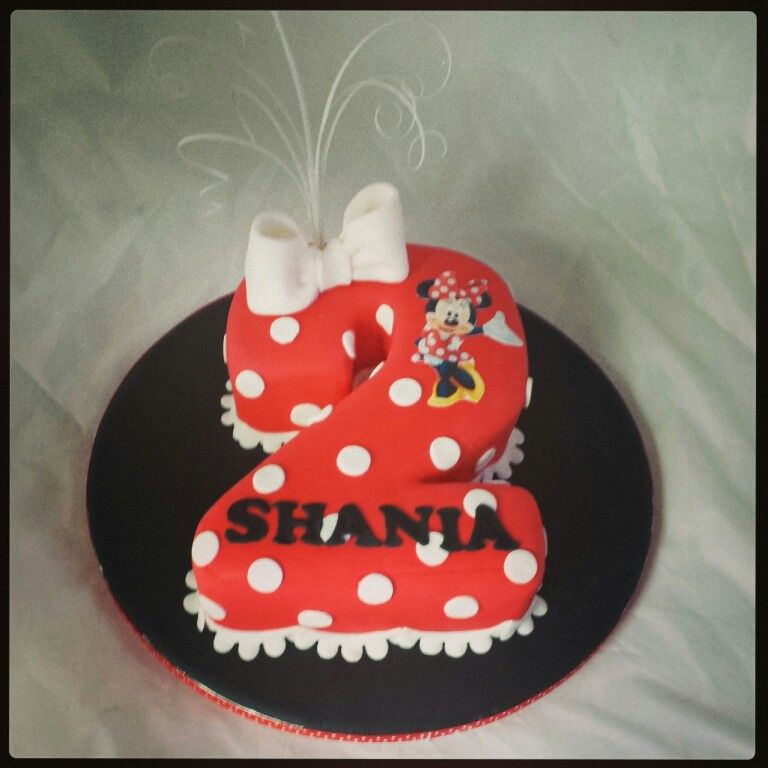Swell Minnie Mouse Number 2 Cake With Images Childrens Birthday Funny Birthday Cards Online Overcheapnameinfo