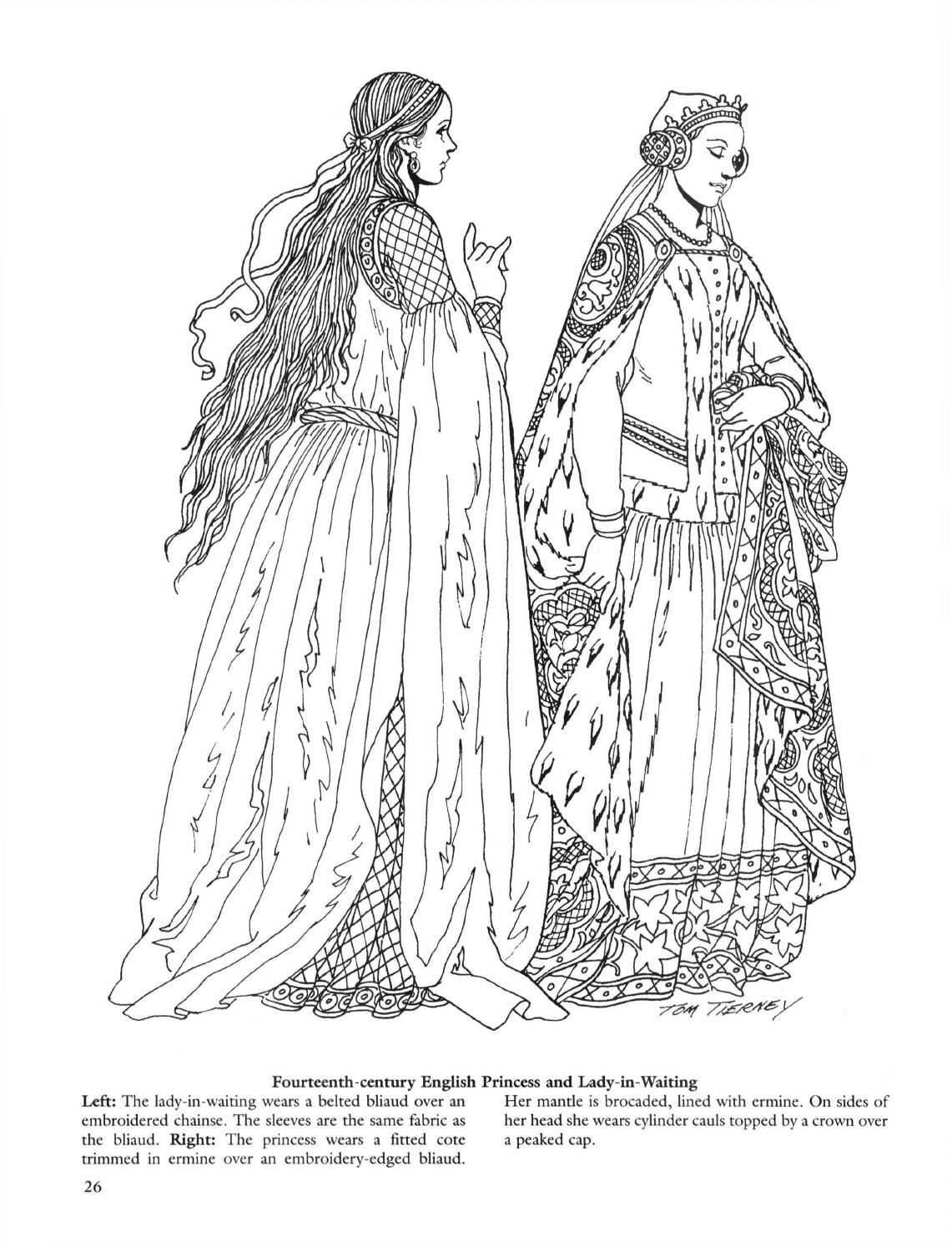 Medieval fashions coloring book, 52i, english | Medieval fashion ...