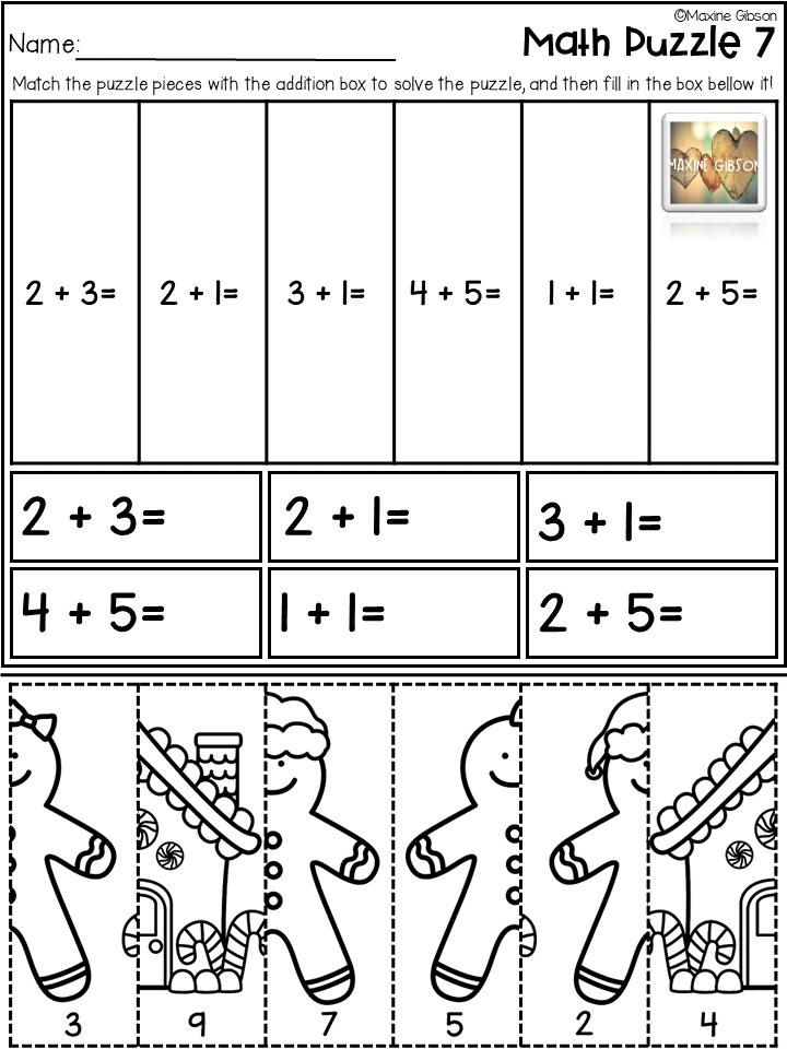 Math Puzzle Addition 1 10 Math Maths Puzzles Kindergarten Freebies