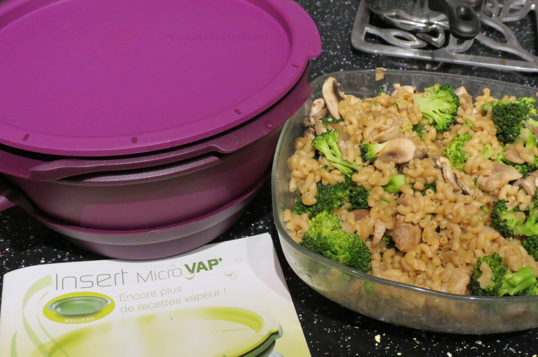Risotto de coquillettes aux champignons et brocoli avec le micro vap de tupperware - Cuisiner avec tupperware ...