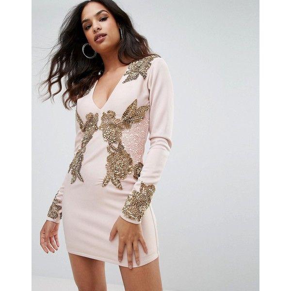 White v neck long sleeve cocktail dress