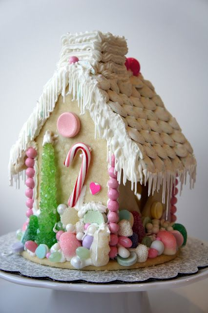 Christmas Gingerbread House Made Of Shortbread Cookie Dough From