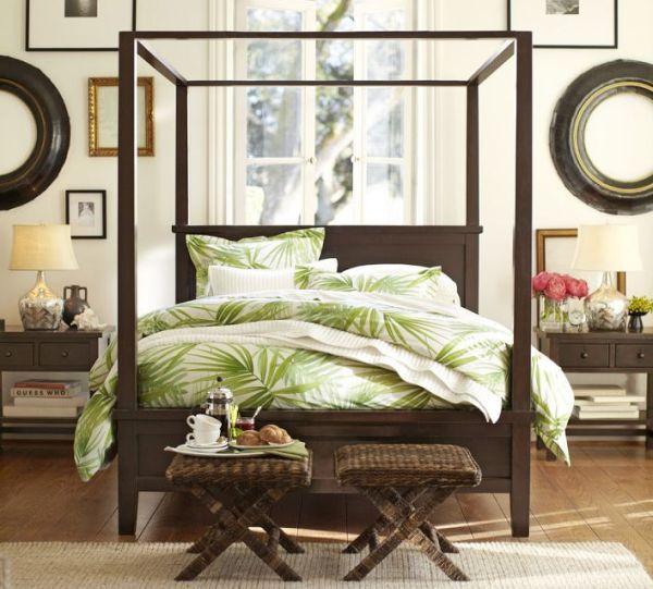 wohnideen im schlafzimmer grüne bettwäsche palmwedel muster - wohnideen selbermachen schlafzimmer