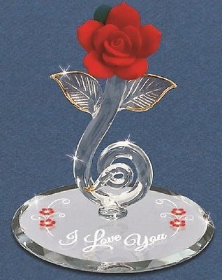 "Glass Baron Red Rose of Love Red Rose High Quality, individually hand-crafted glass figurine. - Glass Baron Red Rose mounted on a round mirror with printing of ""I Love You"" - Accented with 22K Gold - Made by Glass Baron - - Model no. P1 802-LR 2.5"" tall Any Questions - just ask."