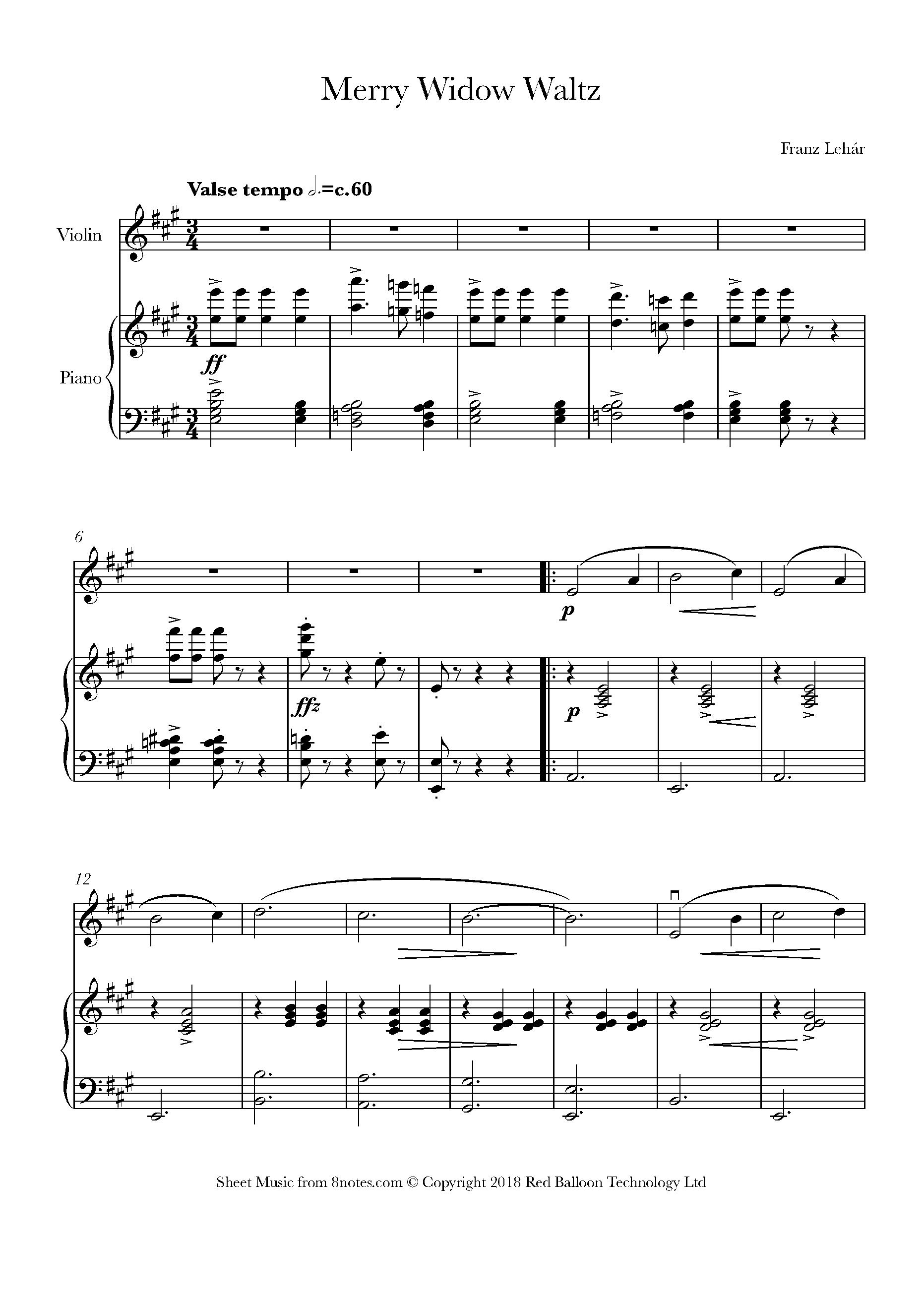 Lehar Waltz From The Merry Widow Sheet Music For Violin 8notes Com Sheet Music Music Waltz