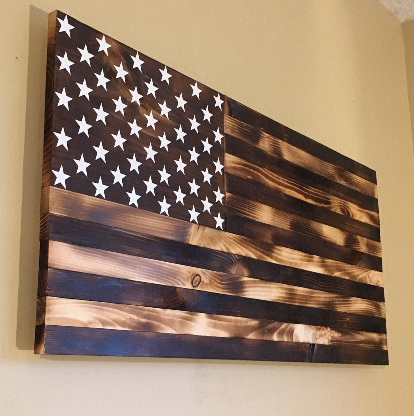 Burnt Wooden American Flag Handmade And Made To Order I Use Pine
