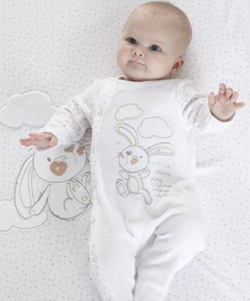 Mothercare Unisex Velour Bunny All In One and Hat. This lovely soft velour all in one with bunny embroidery and hat will keep your little one warm.