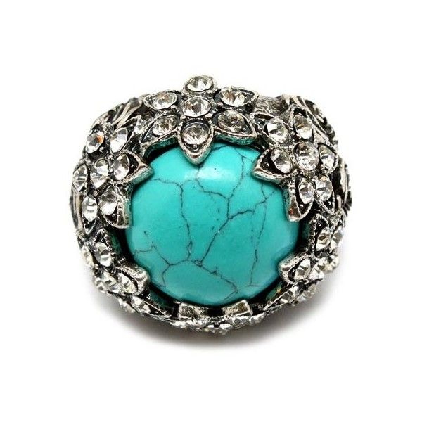 Kasia's Fancy Crystal Flower Accented Turquoise Stone Cocktail Ring