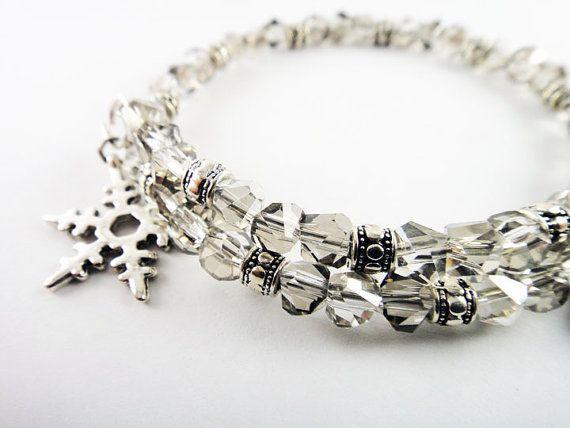 Winter Wonderland Snowflake Swarovski Crystal Expandable Silver Bangle Bracelet With Snowflake and Heart Charms on Etsy, $14.99 #fashion #jewelry #bracelet