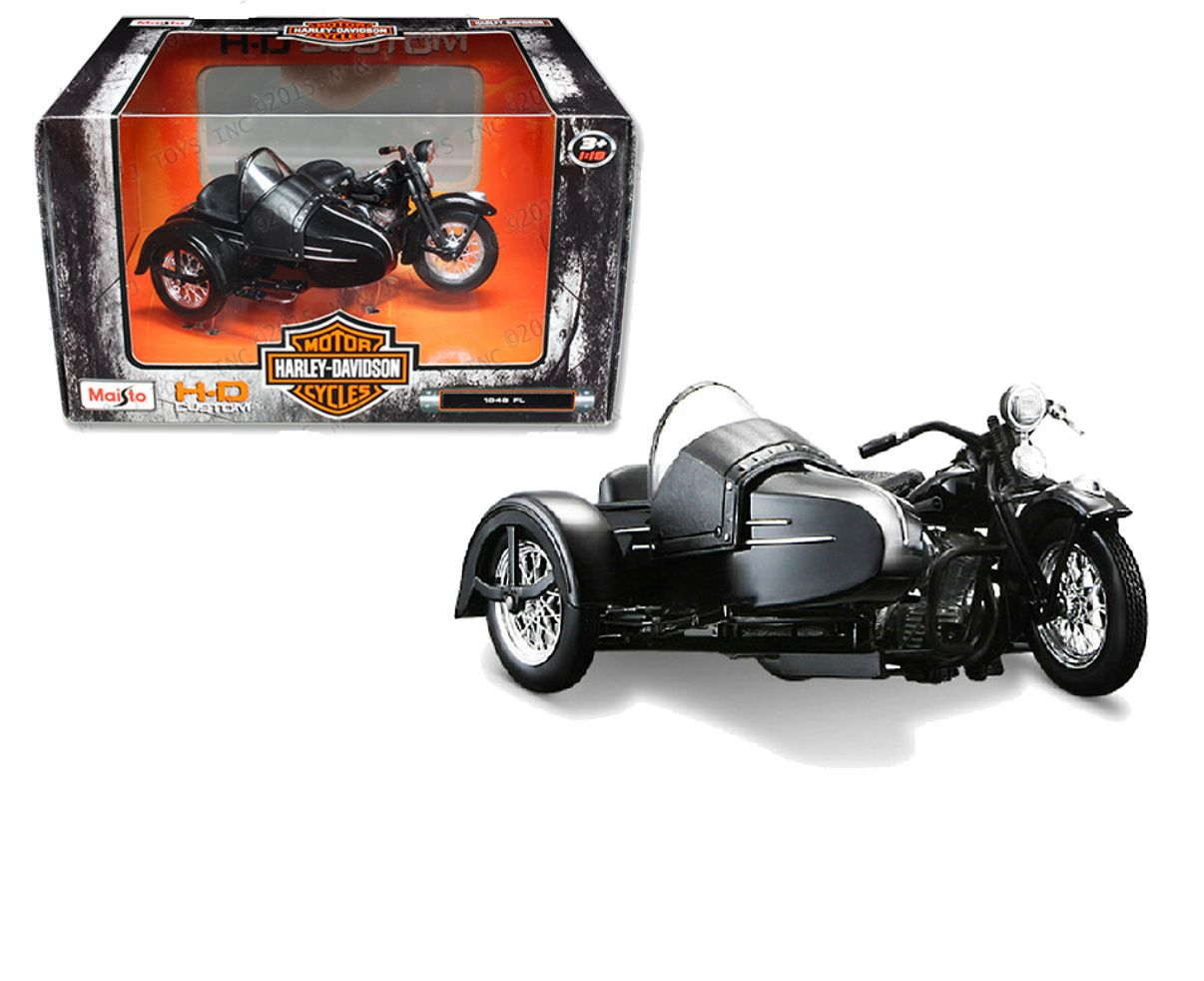 Diecast auto world maisto 1 18 scale harley davidson motorcycle 1948 fl with side