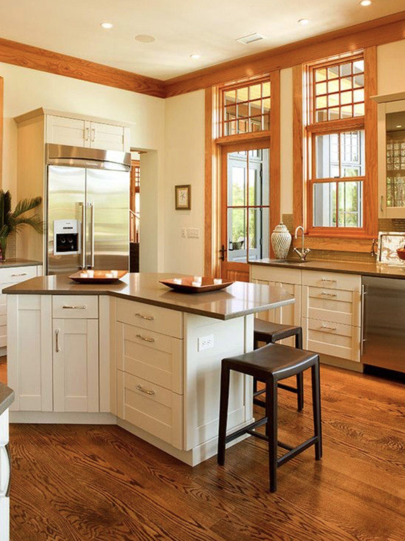White cabinets and wood trim | Oak kitchen, Kitchen interior