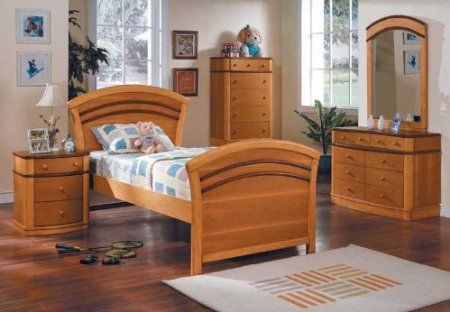 Youth 4pc All Wood Twin Size Bedroom Set, #A1100T