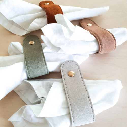 Suede Leather Napkin Rings by H&G Designs. Availiable in 4 Suede Leather Colours. Unique leather napkin rings