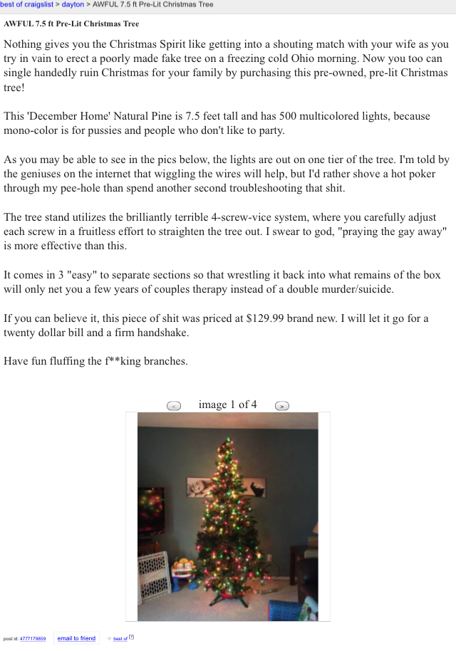 Peopleofcraigslist Christmas Funny Craigslist Ads Christmas Tree Lighting Best From promiscuous pumpkins to walmart pat downs, here's 15 creepy craigslist missed connections you may never want to connect. pinterest