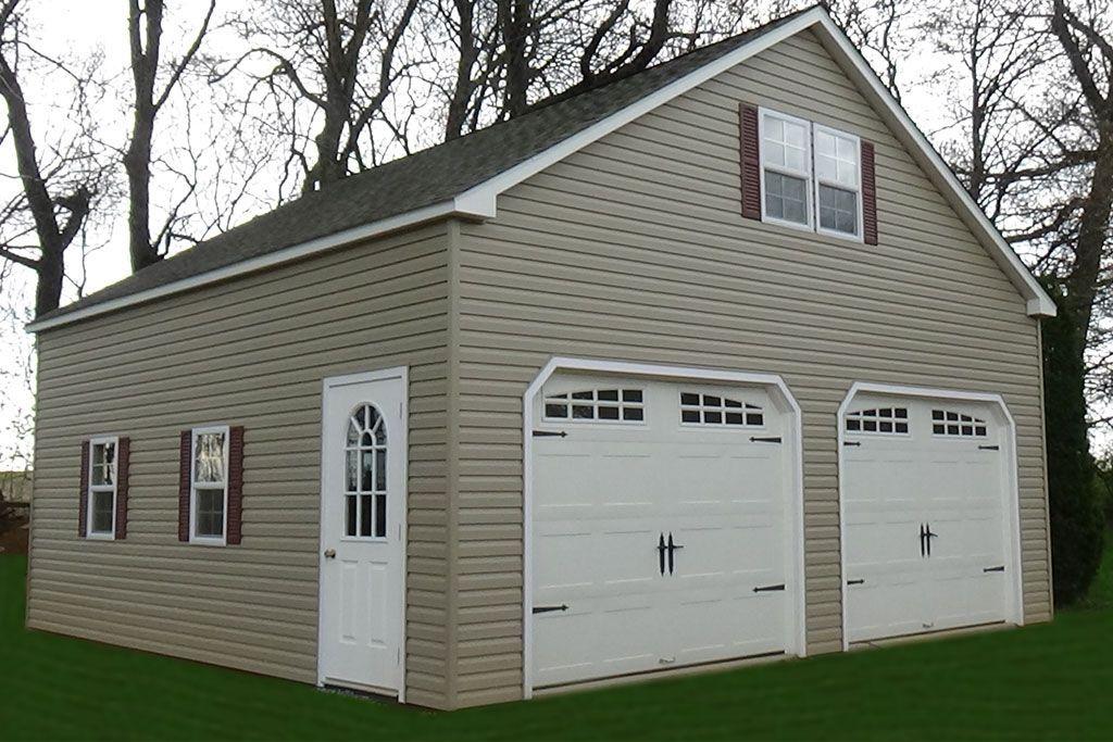 2 Story Double Wide Garage Vinyl Backyard Structures Garage Door Styles Garage Door Design