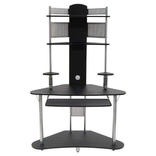 Have limited space for your but major storage needs? Calico Designs' Arch Corner Desk  provides ample space for a computer peripherals and work accessories in a compact, efficient tower style. It features two large upper shelves, a spacious lower shelf, two speaker stands and a slide-out keyboard. Beneath each speaker stand is 4 CD storages slots .  Metal and wood rear panels along with floor provide added stability. Available in Pewter/Teak, Black/Silver and Black/Cherry. ...