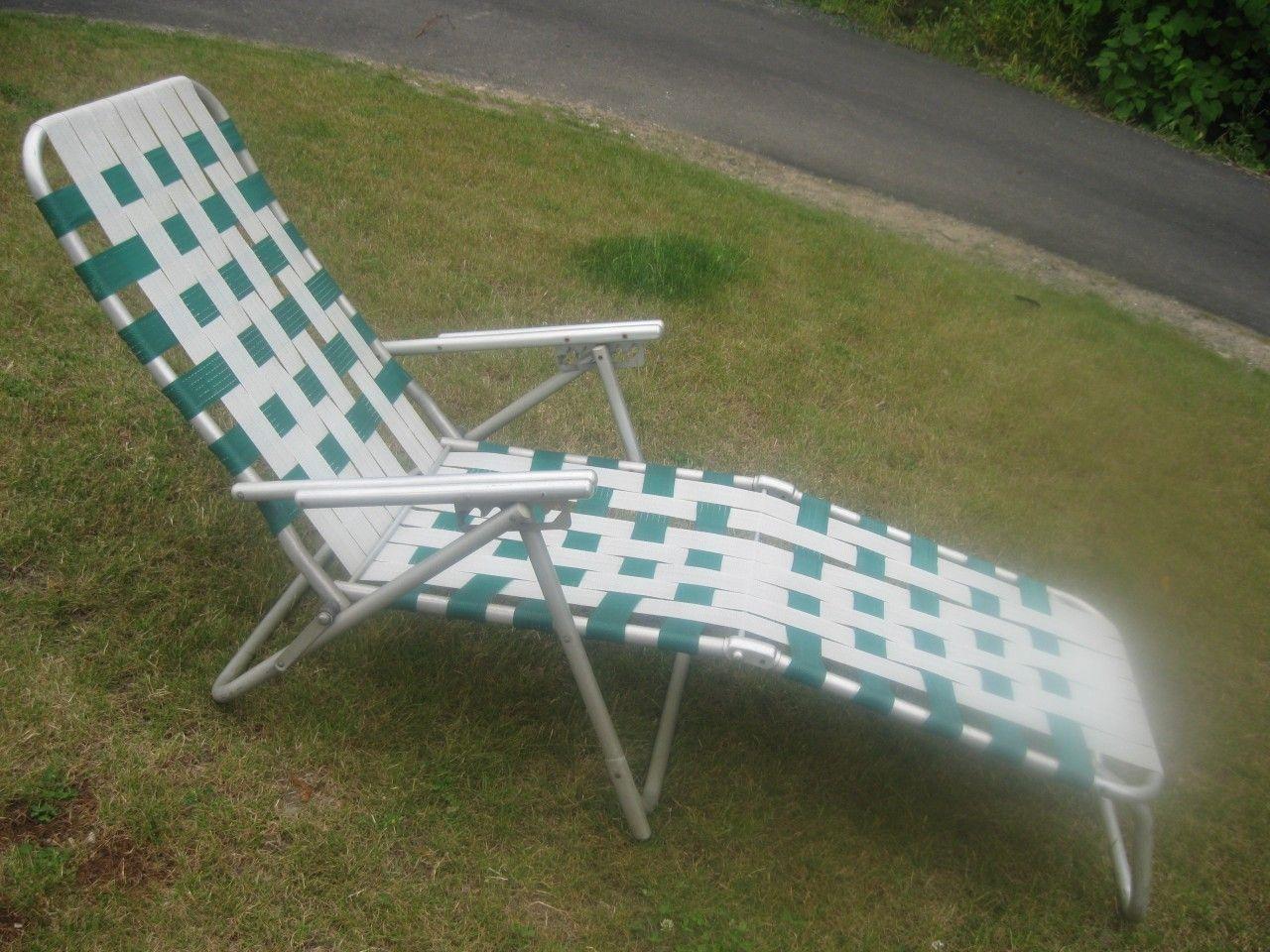 Vintage Aluminum Webbed Chaise Lounge