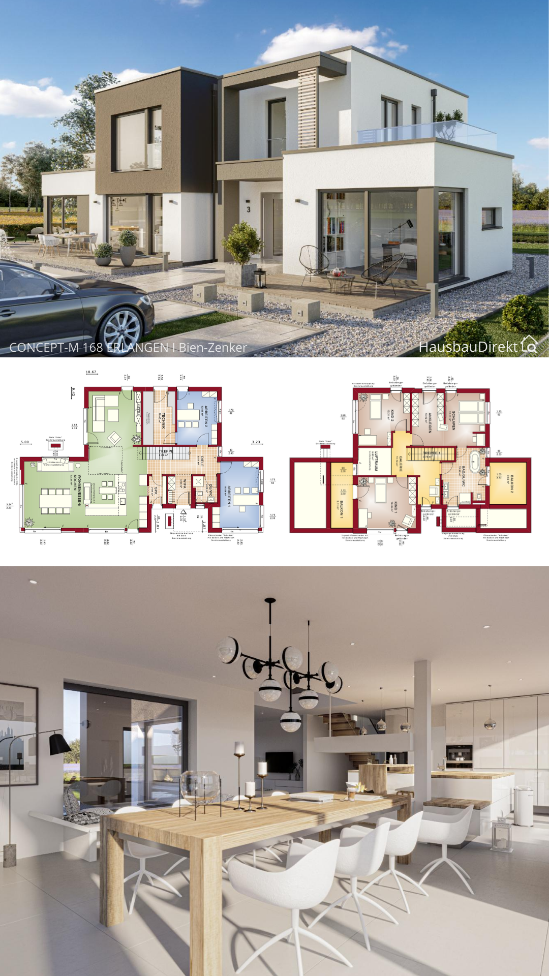Modern House Floor Plans with Gallery and Flat Roof Contemporary European Minimalist Design Ideas