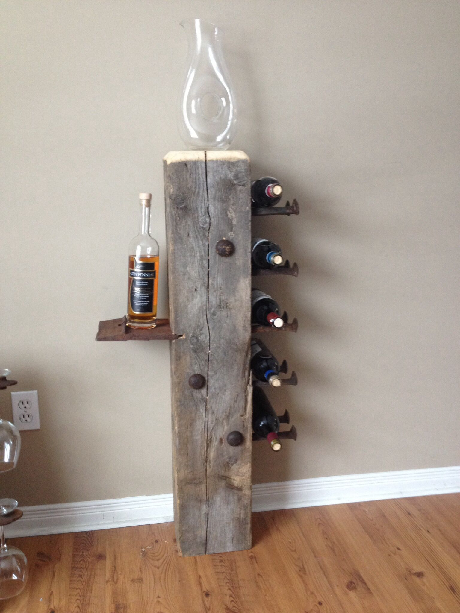 Barn Wood Art Ideas Barn Beam Wine Rack Decorating In 2019 Railroad Spikes