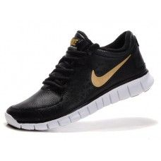 4adc0aa45446be Nike Free Run Mens Running Shoes (leather) - Black White Gold Nike Logo